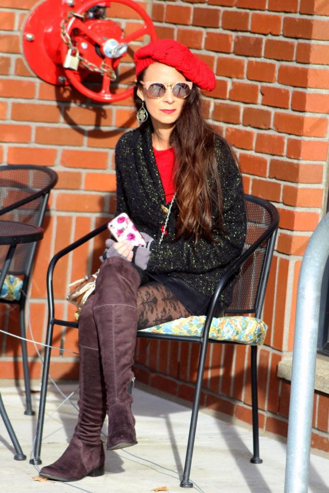 Black sweater with gold metallic threads, faux leather skirt, fleur de lis tights, otk boots, rose gold bag, rose gold sunglasses + red top & red beret