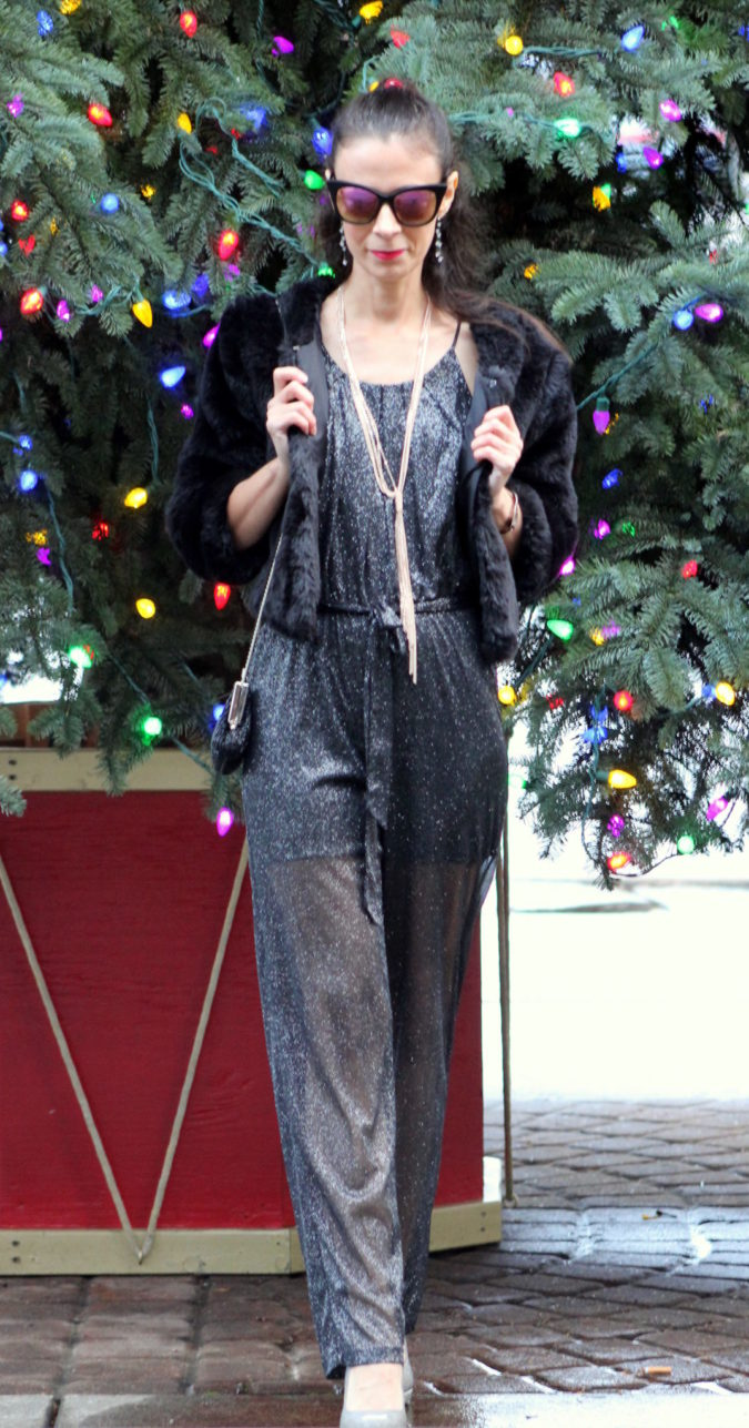 Glitter jumpsuit with faux fur coat, silvery-gold shoes & vintage coin purse