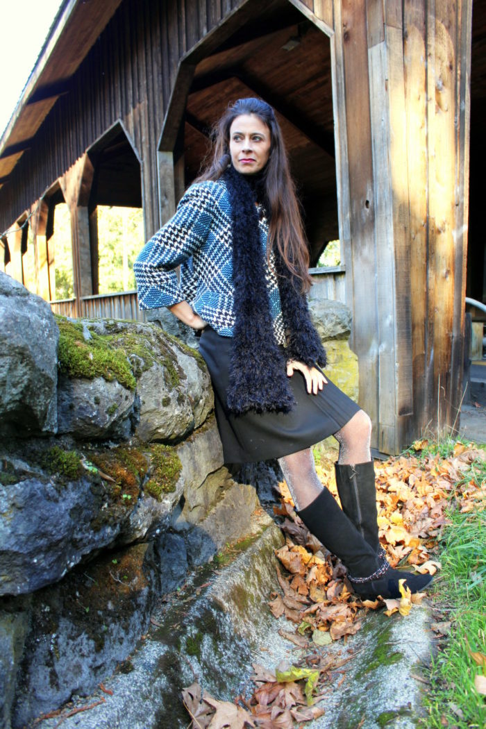 Tweed jacket, black skirt, black boots, fluffy black scarf + glitter tights