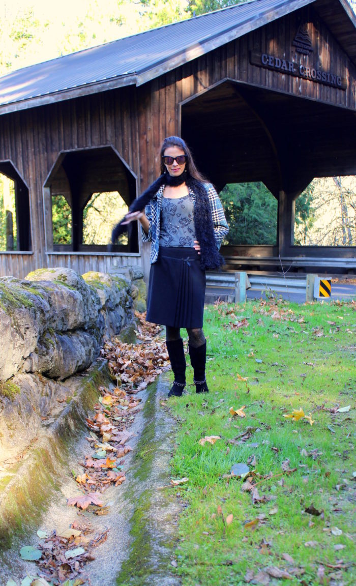 Tweed jacket, black skirt, black boots + black cat eye sunglasses