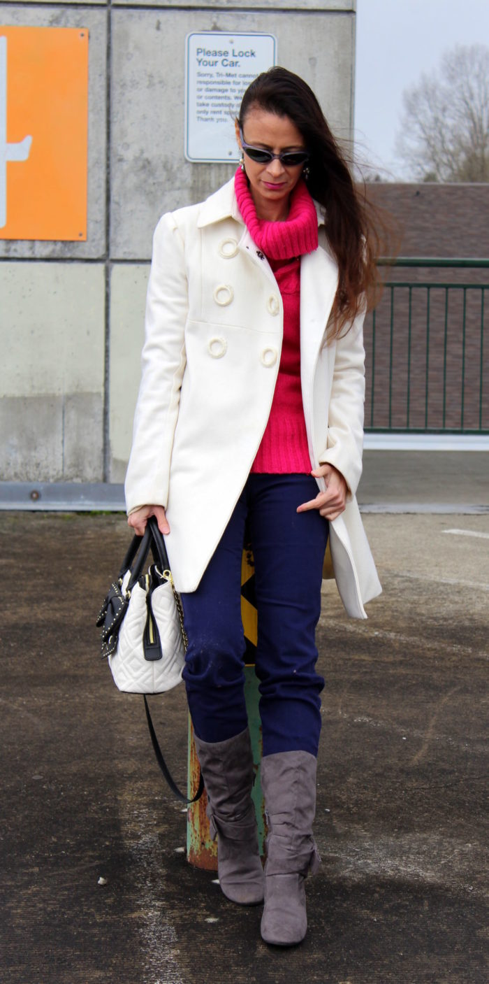 Pink sweater, white coat, jeans & slouchy bow boots