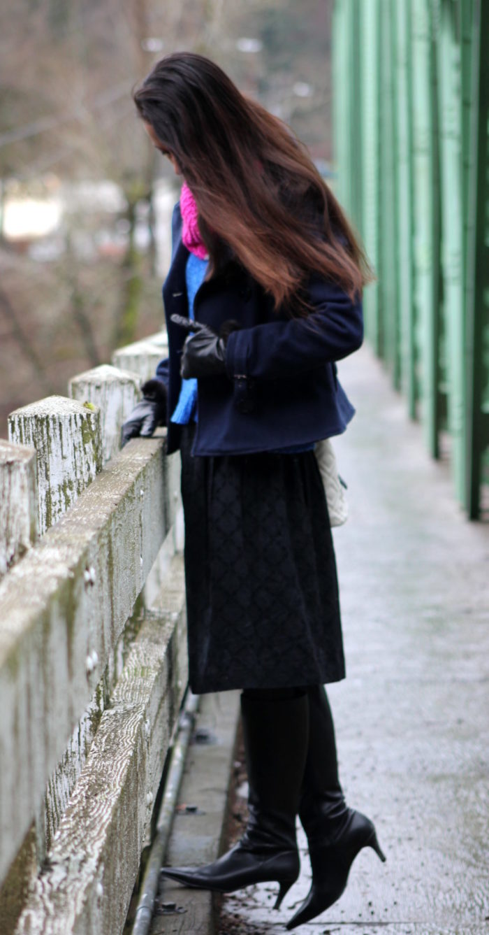 Navy coat, blue sweater, black eyelet lace skirt + black knee high boots