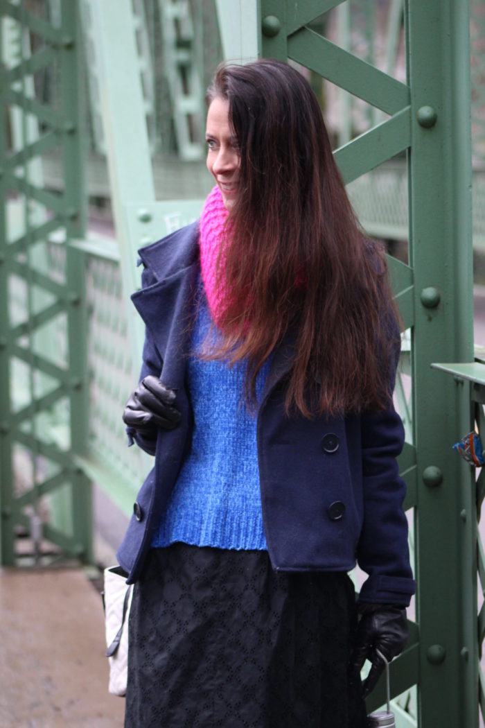 Navy coat, blue sweater, black eyelet lace skirt, pink infinity scarf + black knee high boots