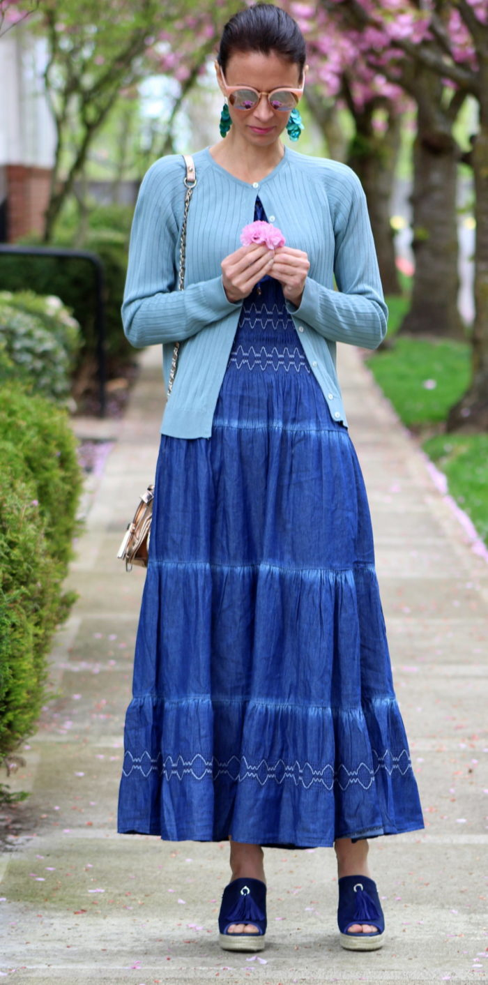 Denim blue dress, dusty blue sweater + rose gold accessories
