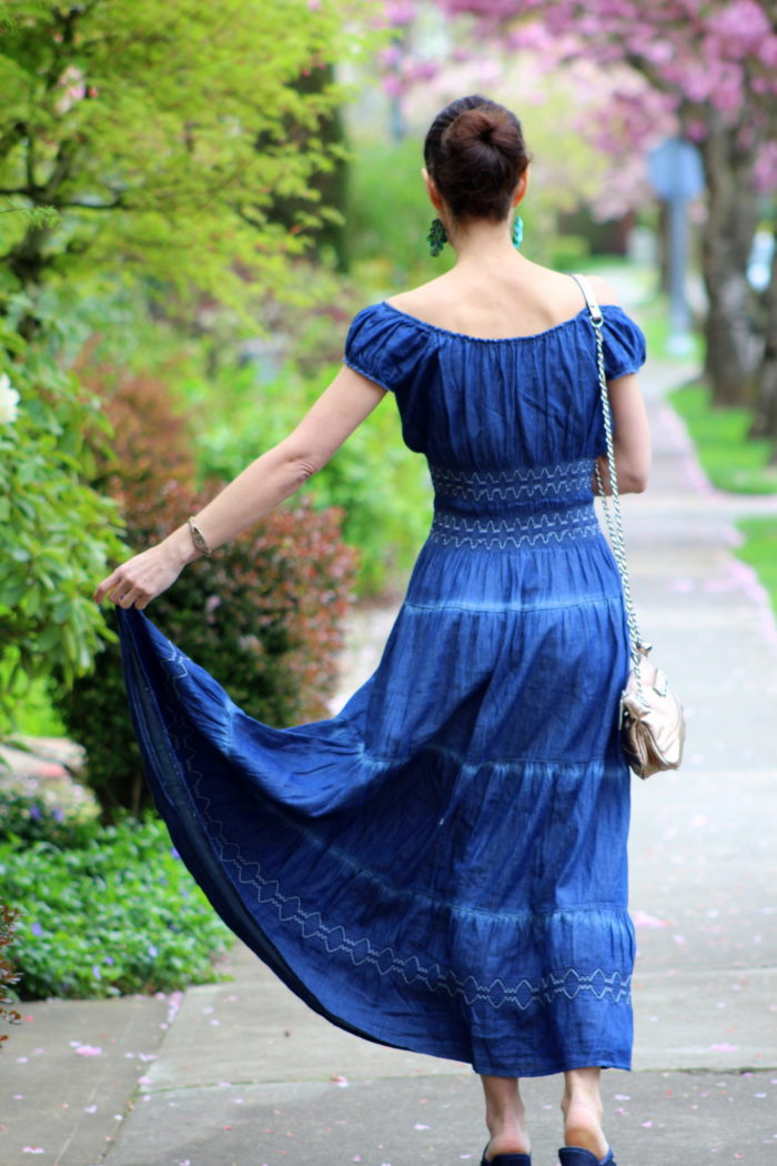 Tiered blue dress
