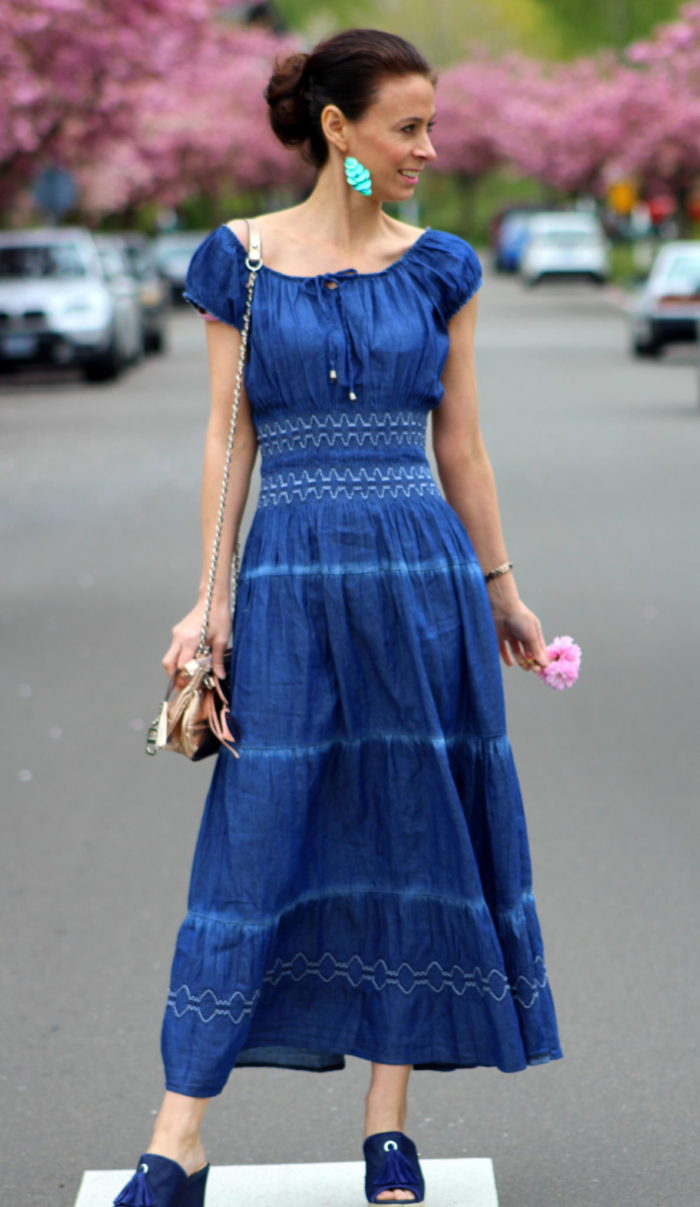 Tiered blue dress, turquoise drop earrings, rose gold purse + denim wedge sandals