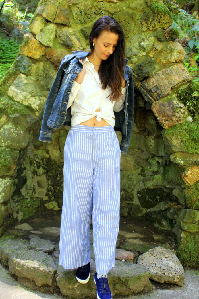 Denim jacket, white top + striped pants